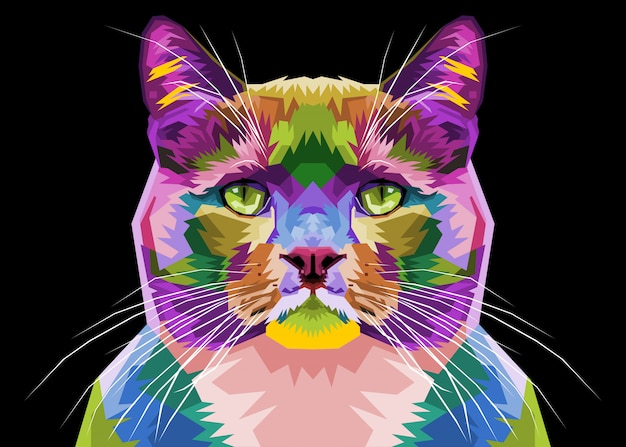 Colorful cat on pop art style. illustration.