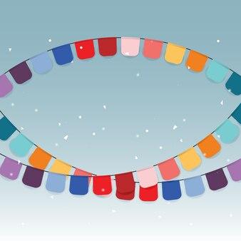 Colorful celebration flags and confetti