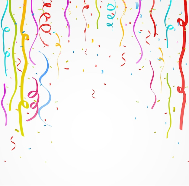 Colorful celebration ribbon with confetti