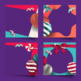 Colorful celebration social media post frame collection