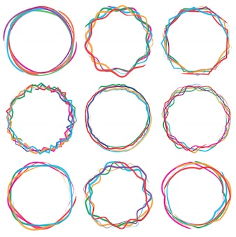 Colorful cercle text box frame set