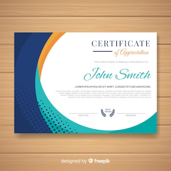 Colorful certificate template with flat design