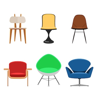 Colorful chair set isolated