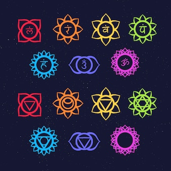 Colorful chakras illustrations collection