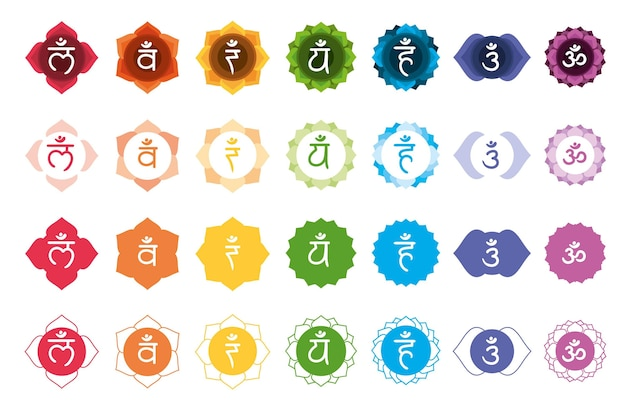 Colorful chakras illustrations set