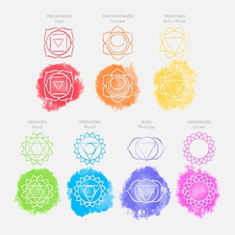 Colorful chakras set concept