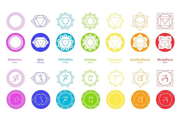Colorful chakras set