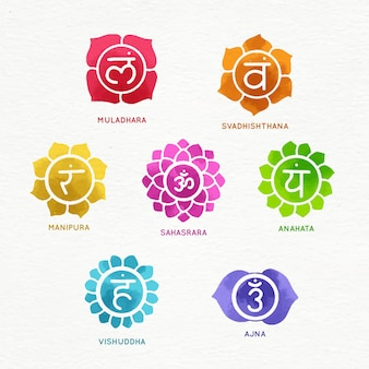 Colorful chakras set