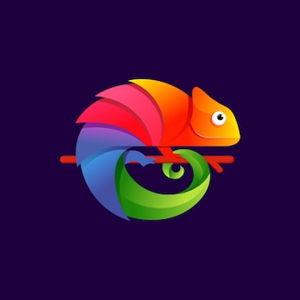 Colorful chameleon logo design   illustration