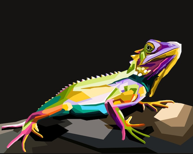 Colorful chameleon pop art portrait