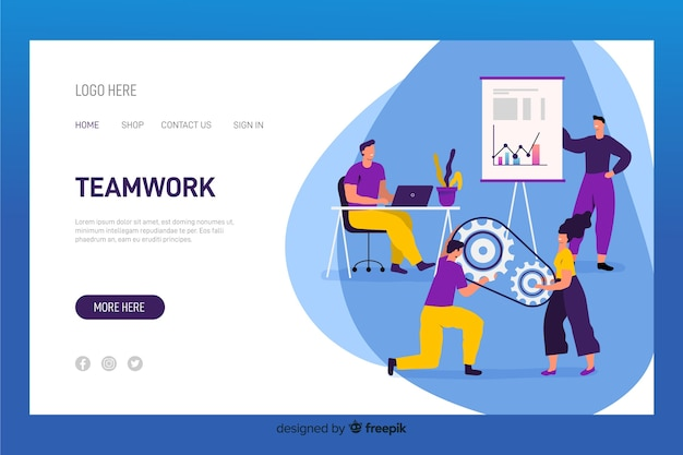 Colorful characters working together teamwork landing page