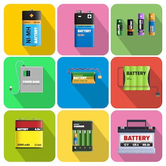 Colorful charging devices vector set