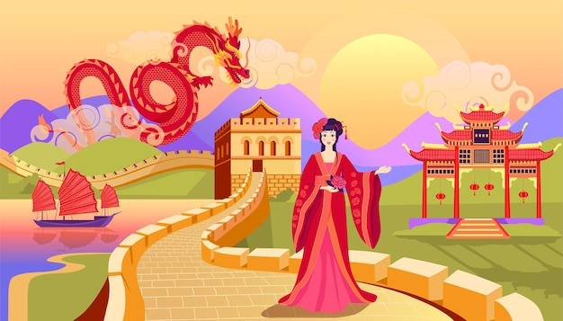 Colorful charming chinese landscape with beautiful girl big wall boat red dragon and temple