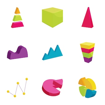 Colorful chart icons set, cartoon style