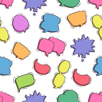 Colorful chat bubbles in seamless pattern with colored doodle style