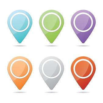 6つのデザイン要素のイラストで構成されるカラフルなチェックポイントアイコンのウェブサイトセット