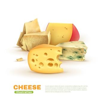 カラフルなチーズのテンプレート