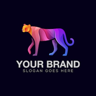Colorful cheetah illustration logo template