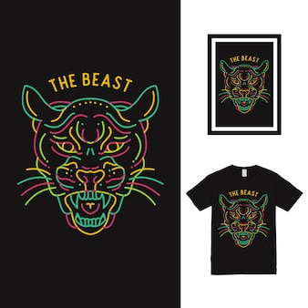 Colorful cheetah line art t shirt design