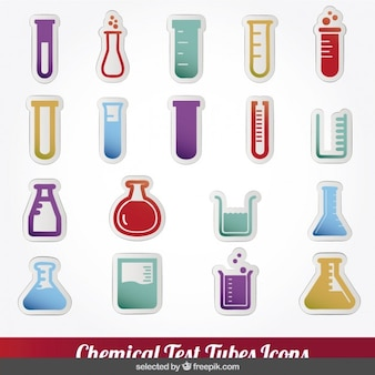 Colorful chemical test tubes icons collection