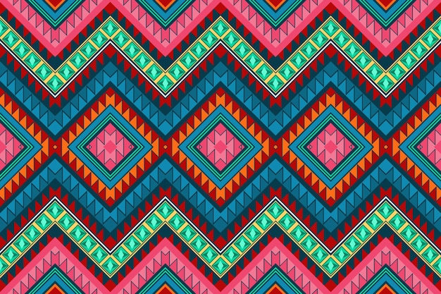 Colorful chevron vintage aztec ethnic geometric oriental seamless traditional pattern. design for background, carpet, wallpaper backdrop, clothing, wrapping, batik, fabric. embroidery style. vector.