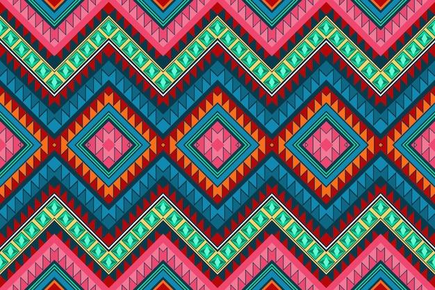 カラフルなシェブロンヴィンテージアステカ民族幾何学的な東洋のシームレスな伝統的なパターン。背景、カーペット、壁紙の背景、衣類、ラッピング、バティック、ファブリックのデザイン。刺繡スタイル。ベクター。