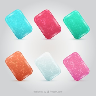 Colorful chewing gums