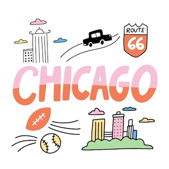 Colorful chicago city lettering
