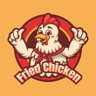 다채로운 닭 만화 마스코트 로고