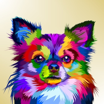 Colorful chihuahua dog in pop art style