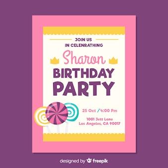 화려한 아이 생일 초대 개념