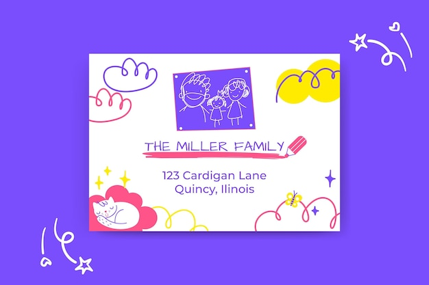 Colorful child-like address family labels