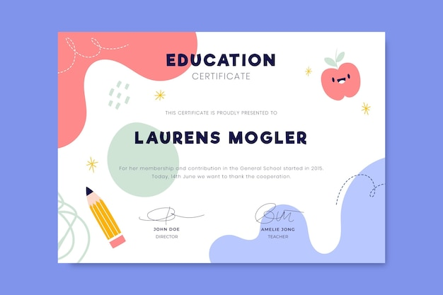 Colorful child-like education certificate
