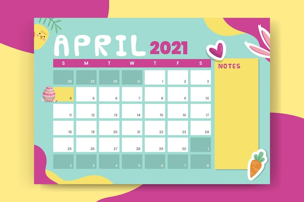 Colorful child-like monthly easter calendar