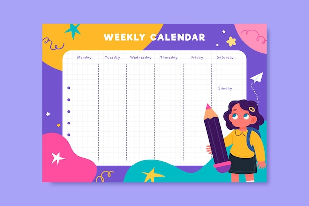 Colorful child-like weekly education calendar