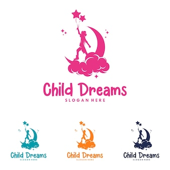 Colorful child reaching star logo vector