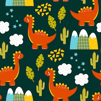 Colorful childish seamless pattern with dinosaurs, mountains and cactuses