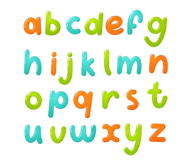 다채로운 어린이 글꼴입니다. 만화 스타일의 광택 아이 알파벳입니다. 학교, 유치원 및 유치원 디자인을 위한 벡터 인쇄술.