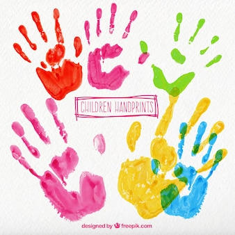 Colorful children handprints