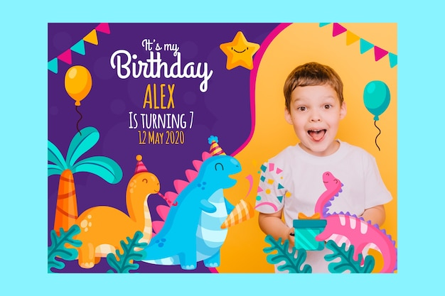 Colorful children's birthday card template
