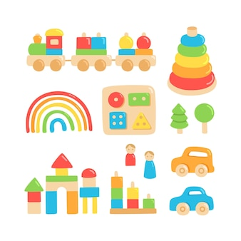 Colorful children wooden toys for montessori games