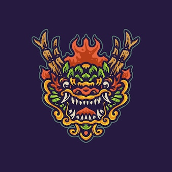 Colorful chinese dragon cartoon illustration