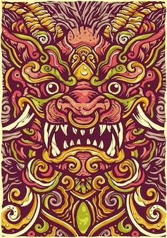 Colorful chinese lion mandala illustration
