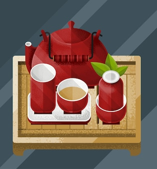 Красочная иллюстрация китайского чайного стола с зеленым листом, красным чайником и парами