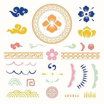 Set di tatuaggi temporanei di tipo vettoriale con fiori tradizionali cinesi colorati