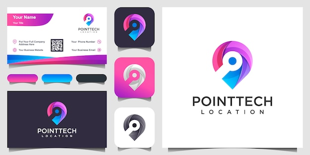 Colorful chip location   inspiration and business card