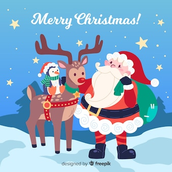 Colorful christmas background in flat design