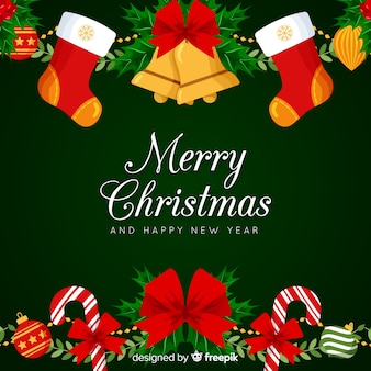 Colorful christmas background with flat design