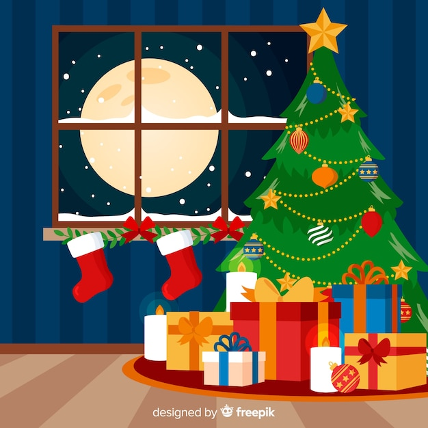 Colorful Christmas Background Design.Free Colorful Christmas Background With Flat Design Svg Dxf