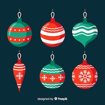 Colorful christmas ball collection with flat design